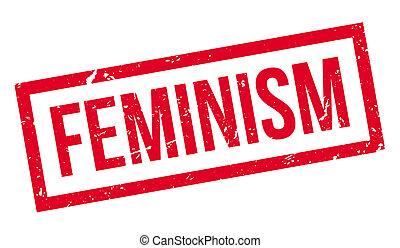 Feminism rubber stamp on white. Print, impress, overprint.