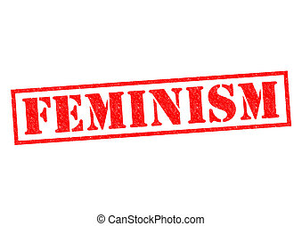 FEMINISM red Rubber Stamp over a white background.