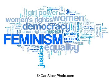 Feminism word cloud. Equal gender rights concept.