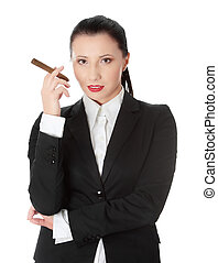 Feminist - Businesswoman (boss) with cigar (feminism...