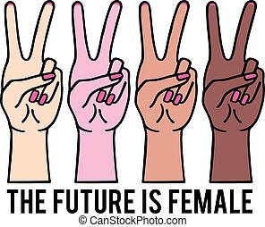 Feminist female hands with peace sign, girl power, vector illustration