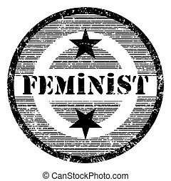 feminist - Feminist grungy stamp with stars isolated on...