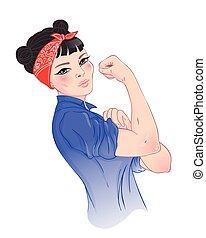 feminista, diseño, niña, puño, poster., vector, inspirado, clásico, empowerment., lata, style., levantado, asiático, ilustración, ella, nosotros, caricatura, mujer, arriba., it., vendimia