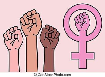 feminista, sinal, símbolo, vetorial, fêmea passa, feminismo