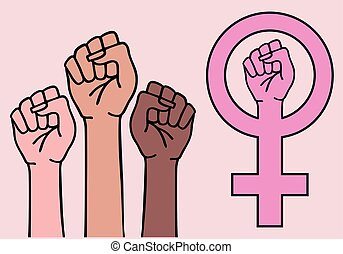 feministin, zeichen, symbol, vektor, frau reicht, feminismus