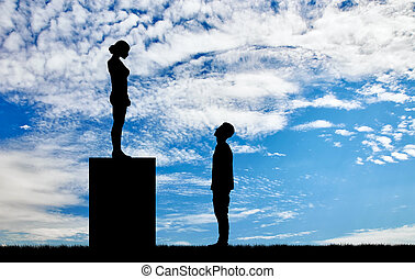 Feminists silhouettes standing on a pedestal looking down at...