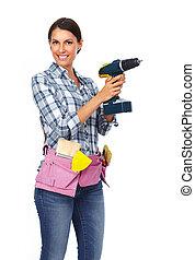 femme, à, a, drill.