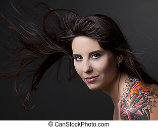 femme, à, a, tatouage