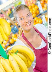 femme, à, bananes