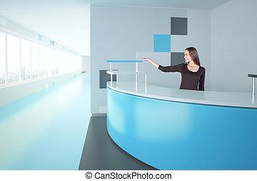 femme, à, bleu, bureau réception