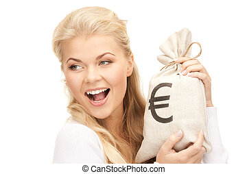 femme, à, euro, signé, sac