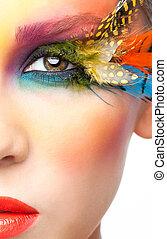 femme, à, faux, plume, cils, maquillage