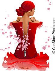 femme, à, fleurs
