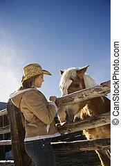 femme, à, horse.
