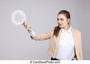 femme, à, incandescent, magique, énergie, ball.