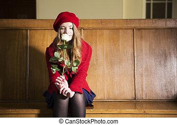 femme, à, local, station, odeurs, rose blanche