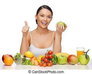 femme, à, nourriture saine