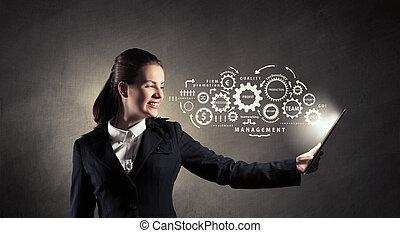 femme, à, pc tablette
