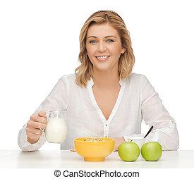 femme, à, petit déjeuner sain