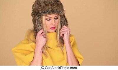 femme, à poil, jaune, mode, joli, capuchon
