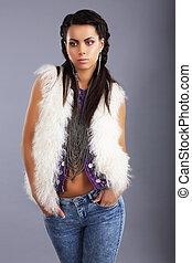 femme, à poil, moderne, jean, jeune, veste, élégant