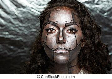 maquillage femme robot