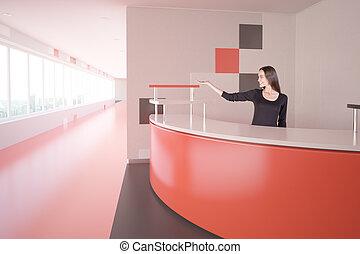 femme, à, rouges, bureau réception