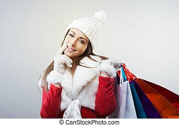 femme, à, sacs provisions
