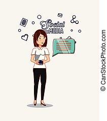 femme, à, smartphone, bavarder, social, média