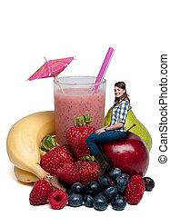 femme, à, smoothie fruit