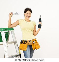 femme, à, tools.