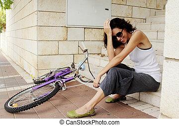 femme, à, vélo