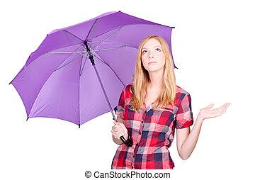femme, à, violet, parapluie