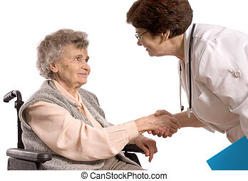 femme âgée, dans, fauteuil roulant