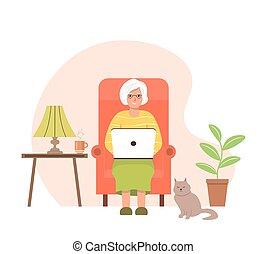 femme âgée, fauteuil, séance, laptop.