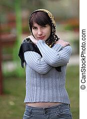 femme, écharpe, tête, jeune, portrait, parc
