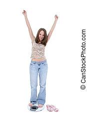 femme, échelle, régime
