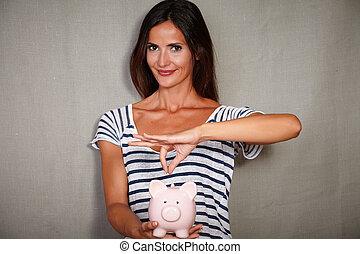femme, économies, porcin, tenue, banque, heureux
