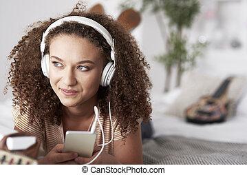 femme, écoute, beau, musique, jeune