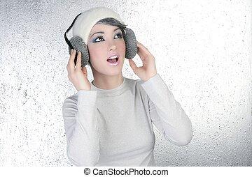 femme, écouteurs, audition, mode, musique, futuriste