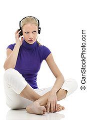 femme, écouteurs, jeune, caucasien, portrait, habillement, désinvolte