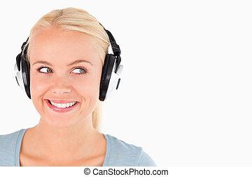 femme, écouteurs, portrait