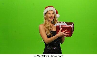 femme, écran, casquette, gift., vert, noël