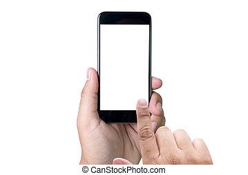 femme, écran, isolé, main, téléphone, tenue, blanc