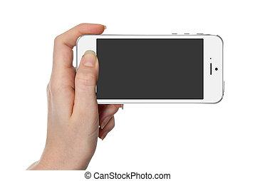 femme, écran, isolé, main, téléphone, tenue, blanc, intelligent