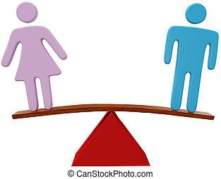 femme, égalité, genre, sexe, équilibre, homme