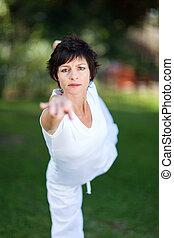 femme, élégant, mûrir, yoga