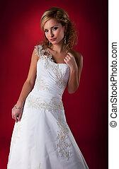 femme, élégant, mariée, poser, studio, robe nuptiale, blanc