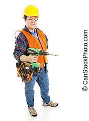 femme, électricien construction