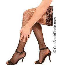 femme, élevé, bas, noir, talons, sexy, jambes